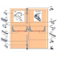 Система антипаника Fapim Panama с тремя точками запирания для двустворчатых дверей